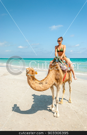 Pretty Young Woman Sitting on a Camel stock photo, Pretty Young Woman Sitting on a Camel on the Beach during a Tropical Day by Karol Czinege