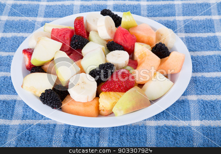 Cut Fruit with Sliced Bananas stock photo, A bowl of fresh cut fruit by Darryl Brooks