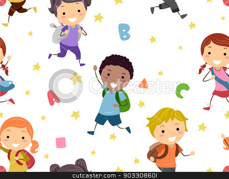 Seamless Background stock vector clipart, Seamless Background Illustration of Preschool Students by BNP