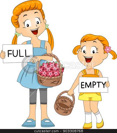 Basket Comparison stock vector clipart, Illustration of Kids Comparing Baskets by BNP