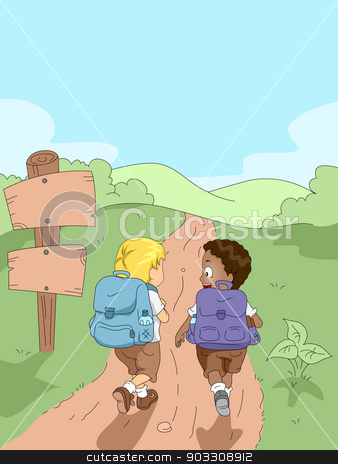 Hiking Kids stock vector clipart, Illustration of Kids Hiking in a Camp by BNP