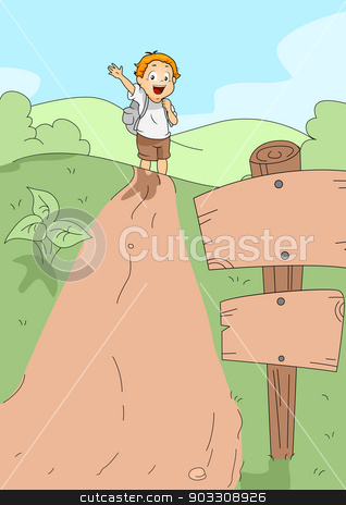 Kid Hiking stock vector clipart, Illustration of a Kid Hiking by BNP