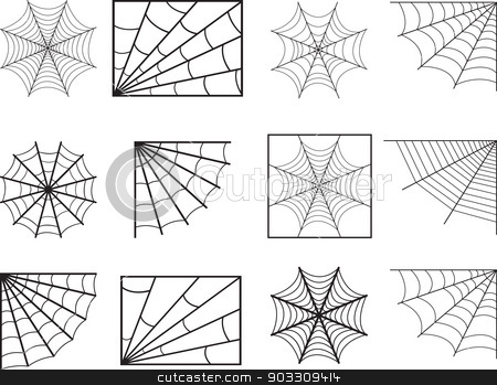 Spider web stock vector clipart, Spider web illustrated on white by Alexandru Ghidan Daniel
