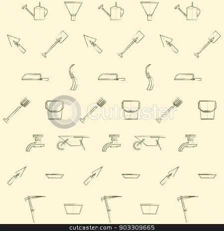 Background for gardening tools stock photo, Vintage pattern with gardening tools on a light background. by YershovOleksandr