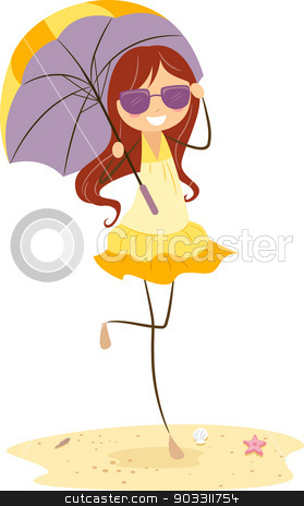 Umbrella Girl  stock vector clipart, Illustration of a Girl Holding an Umbrella by BNP