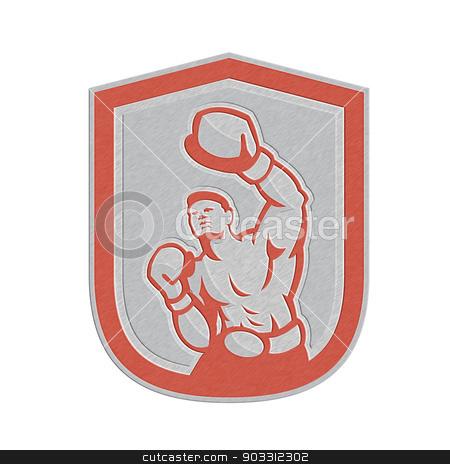Metallic Boxer Boxing Punching Jabbing Circle Retro stock photo, Metallic styled illustration of a boxer jabbing punching set inside circle done in retro style on isolated background. by patrimonio