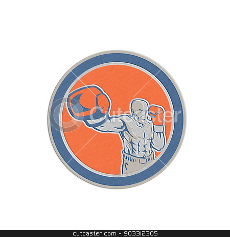 Metallic Boxer Boxing Punching Jabbing Circle Retro stock photo, Metallic styled illustration of a boxer jabbing punching set inside circle done in retro style on isolated background. by patrimonio