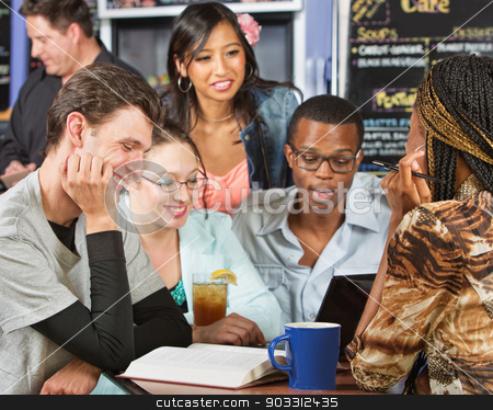 Five Students Studying stock photo, Happy group of five students studying in cafe by Scott Griessel