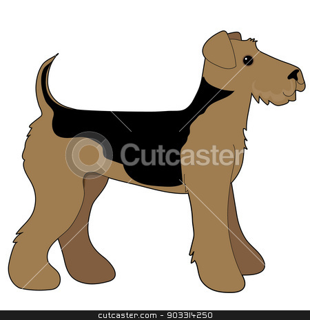 Airedale Terrier stock vector clipart, A cartoon illustration of an Airedale Terrier by Maria Bell