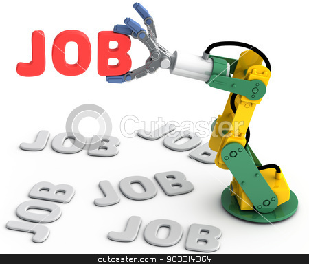 Robot arm find best Technology job stock photo, Robotic arm to find and choose best Technology job search solution by Michael Brown