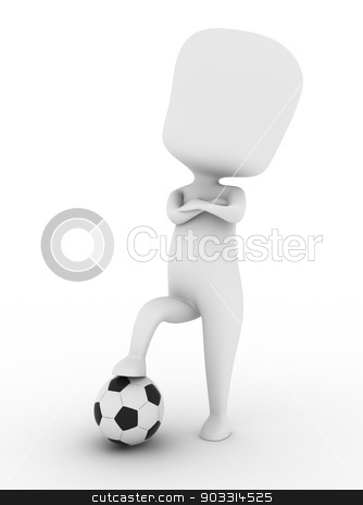 Cocky Player stock photo, 3D Illustration of a Proud Soccer Player Stepping on a Ball by BNP