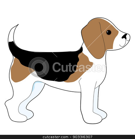 Beagle stock vector clipart, A cartoon drawing of a cute little Beagle puppy by Maria Bell