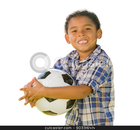 Mixed Race Boy Holding Soccer Ball on White stock photo, Mixed Race Boy Holding Soccer Ball Isolated on a White Background. by Andy Dean