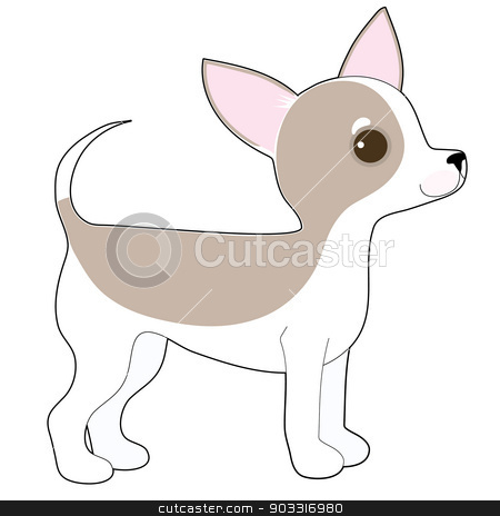 Chihuahua stock vector clipart, A cartoon drawing of a cute little Chihuahua by Maria Bell