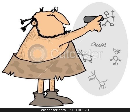 Caveman drawing on a wall stock photo, This illustration depicts a caveman drawing petroglyphs on a cave wall. by Dennis Cox
