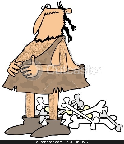 Caveman with a full stomach stock photo, This illustration depicts a caveman holding his full belly with a pile of meat bones behind him. by Dennis Cox