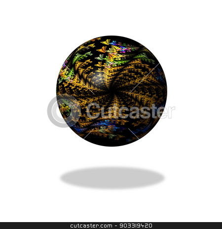 Abstract Dark Fractal Globe stock photo, A dark abstract fractal globe on white background with shade. by Henrik Lehnerer