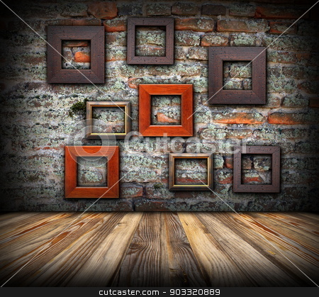 frames on weathered wall stock photo, frames on weathered wall, artistic interior backdrop for your design by coroiu octavian