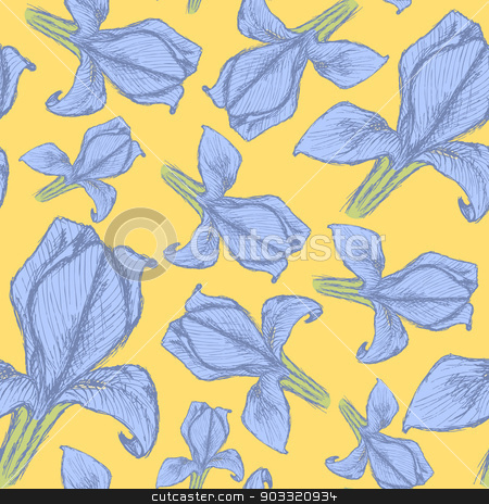 Sketch iris, vector vintage seamless pattern stock vector clipart, Sketch iris, vector vintage seamless pattern eps 10 by Lily