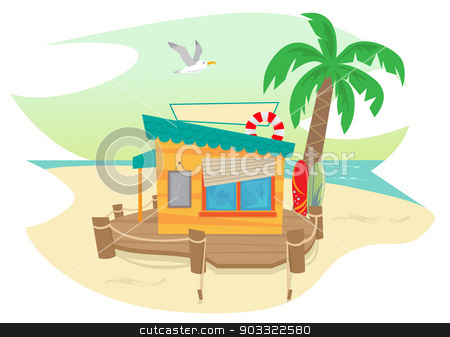 Beach Shack stock vector clipart, Cute beach shack and a palm tree, surfboards, flying seagull and an ocean view in the background. Eps10 by Bilha Golan