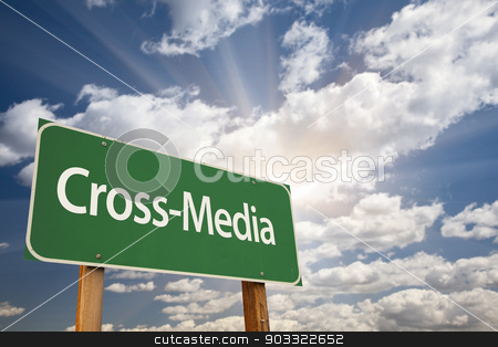 Cross-Media Green Road Sign stock photo, Cross-Media Green Road Sign with Dramatic Clouds and Sky. by Andy Dean