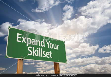 Expand Your Skillset Green Road Sign stock photo, Expand Your Skillset Green Road Sign with Dramatic Clouds and Sky. by Andy Dean