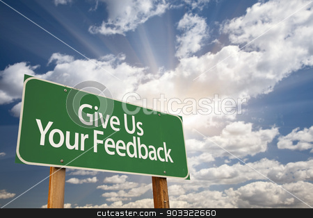 Give Us Your Feedback Green Road Sign stock photo, Give Us Your Feedback Green Road Sign with Dramatic Clouds and Sky. by Andy Dean
