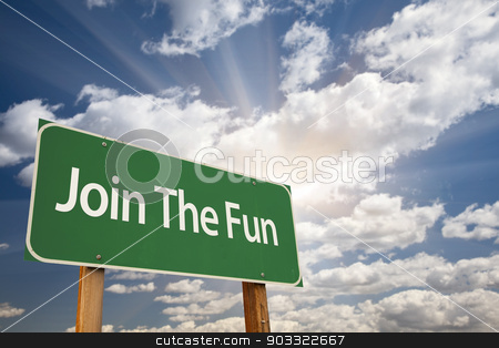 Join The Fun Green Road Sign stock photo, Join The Fun Green Road Sign with Dramatic Clouds and Sky. by Andy Dean