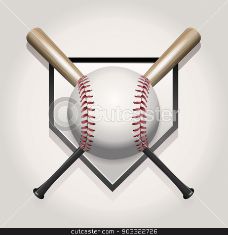 Baseball, Bat, Homeplate Illustration stock vector clipart, A baseball illustration made for a ball and two crossed bats over home plate. Vector EPS 10 available. EPS contains transparencies and gradient mesh. by Jason Enterline