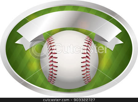 Baseball Emblem Illustration stock vector clipart, An illustration of a baseball and banner. Room for copy. Vector EPS 10 file available. EPS file contains transparencies. by Jason Enterline