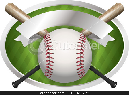 Baseball and Bat Emblem Illustration stock vector clipart, An illustration of a baseball and bat banner. Room for copy. Vector EPS 10 file available. EPS file contains transparencies and gradient mesh. by Jason Enterline