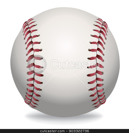 Isolated Baseball Illustration stock vector clipart, An illustration of a realistic baseball isolated on white. Vector EPS file available. EPS contains transparencies and gradient mesh. by Jason Enterline