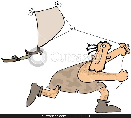 Caveman flying a kite stock photo, This illustration depicts a caveman running while flying a kite. by Dennis Cox