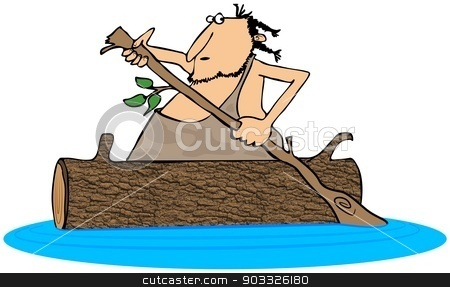 Caveman paddling a log canoe stock photo, This illustration depicts a caveman paddling a hollowed out log canoe. by Dennis Cox