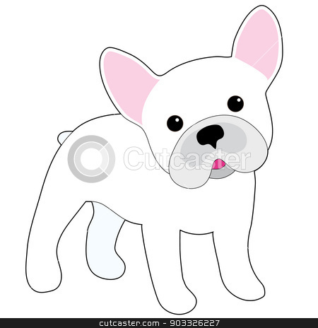 French Bulldog stock vector clipart, A cartoon illustration of a little white French Bulldog  by Maria Bell
