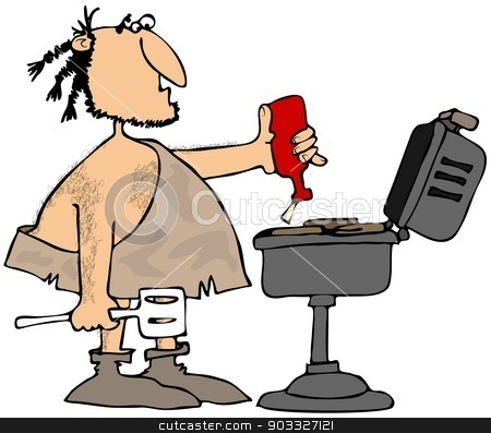 Caveman BBQ stock photo, This illustration depicts a caveman squirting sauce or ketchup on hamburger patties cooking on a barbeque. by Dennis Cox