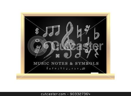 Handwritten musical notes stock photo, Handwritten musical notes on the school blackboard, vector illustration by sermax55
