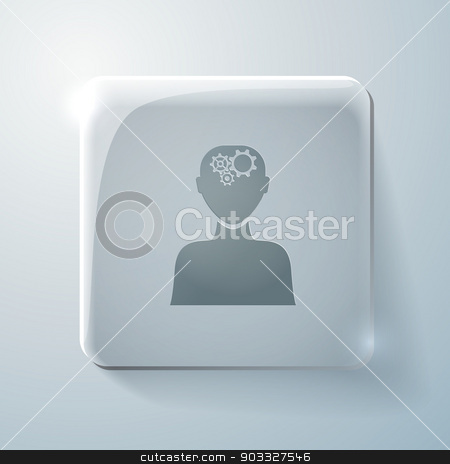 Glass icon. man thinks, the gears in head stock vector clipart, Glass square icon with highlights, man thinks, the gears in head by LittleCuckoo