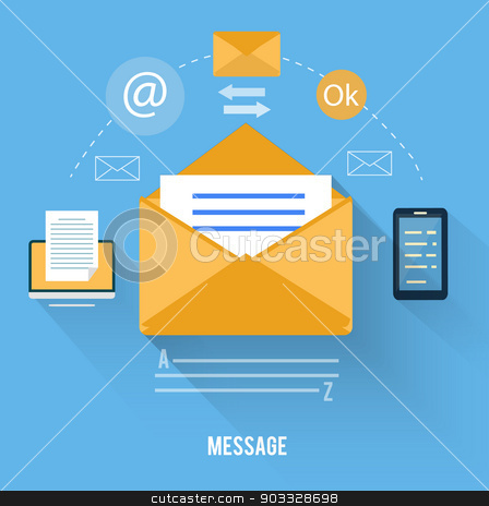 Envelope with message and email technology stock vector clipart, Set for web and mobile applications of office work. Envelope with message and email technology by robuart