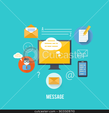 Concept of message and email technology stock vector clipart, Set for web and mobile applications of office work. Concept of message and email technology by robuart