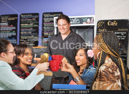 Waiter Serving Happy People stock photo, Happy diverse group of people in cafe with waiter by Scott Griessel