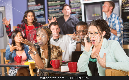 Obnoxious Customer on Phone stock photo, Group of people annoyed with obnoxious person on phone by Scott Griessel