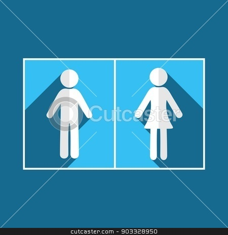 Man and woman icons stock vector clipart, Man and woman flat design blue icons by blumer