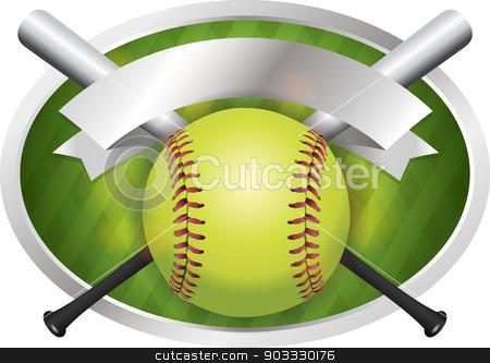 Softball and Bat Emblem Banner Illustration stock vector clipart, An illustration of a softball and bats on a emblem background. Vector EPS 10 available. EPS contains transparencies. by Jason Enterline