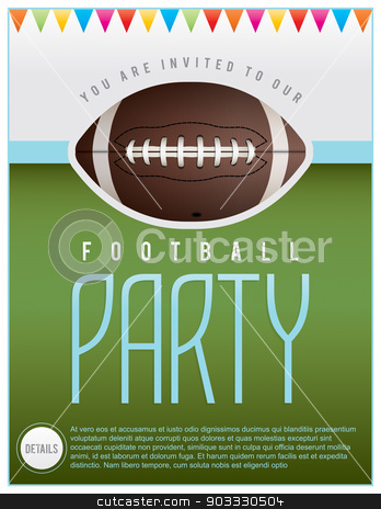 Football Party Flyer stock vector clipart, A flyer design perfect for tailgate parties, football invites, etc. EPS 10 available. EPS file contains transparencies.   Fonts used: http://www.fontsquirrel.com/fonts/tulpen-one Bebas: http://www.fontsquirrel.com/fonts/bebas by Jason Enterline