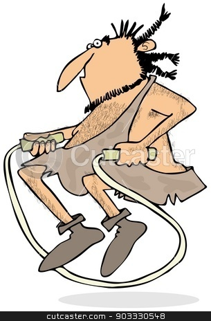 Caveman jumping rope stock photo, This illustration depicts a caveman jumping up and playing skip the rope. by Dennis Cox