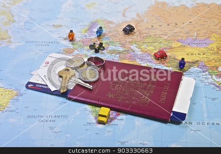 Passport, Travel stock photo, British Passport flight ticket and personal belongings displayed on a world map. Travel and vacation by Vividrange