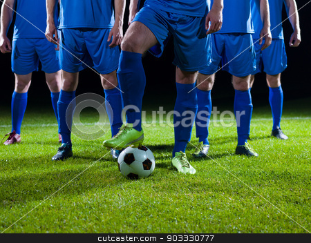 soccer players team stock photo, soccer players team group isolated on black background by Benis Arapovic