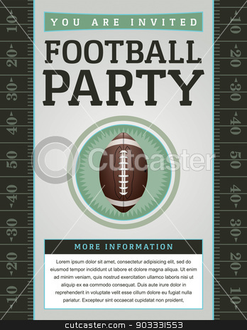 American Football Party Flyer stock vector clipart, An American Football flyer design perfect for tailgate parties, football invites, etc. EPS 10 available. EPS file contains transparencies. Text has been converted to outlines and is on its' own layer.  Fonts used: http://www.fontsquirrel.com/fonts/gaspar by Jason Enterline