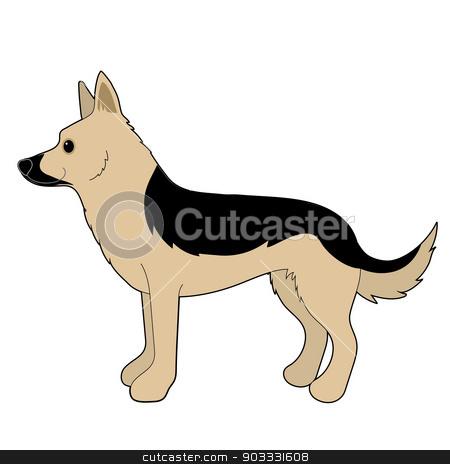 German Shepherd stock vector clipart, A cartoon illustration of a German Shepherd by Maria Bell